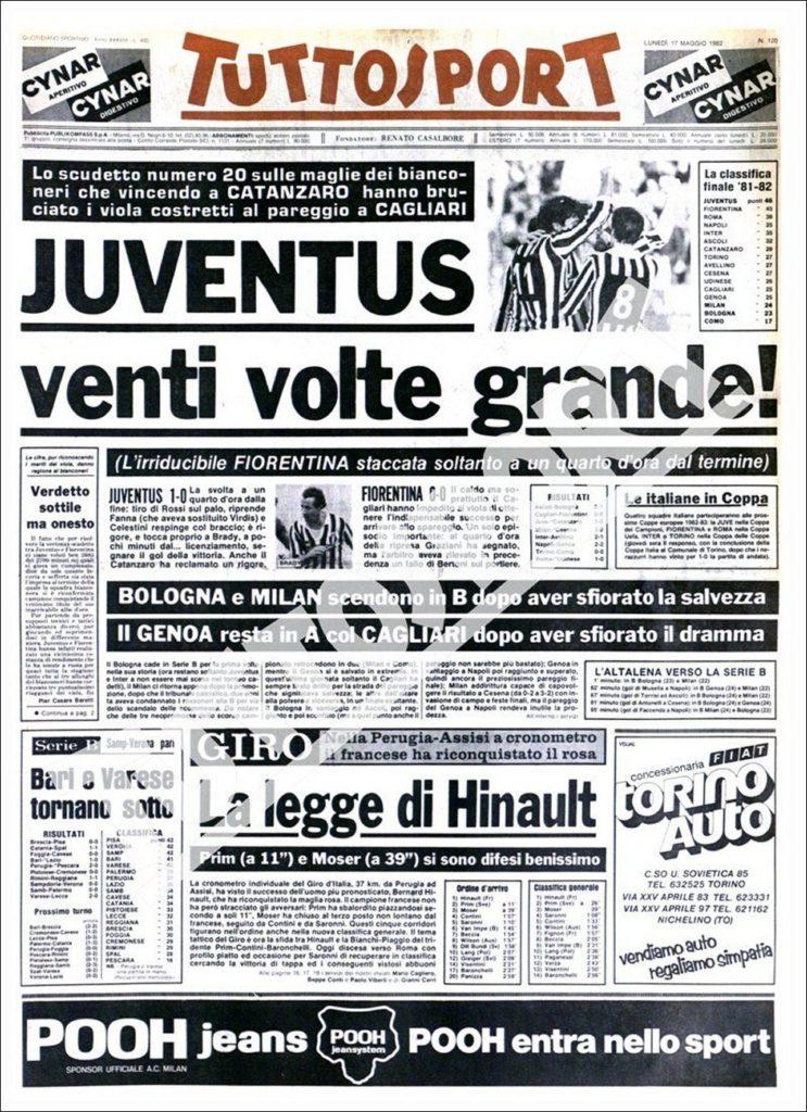 Prima pagina Tuttosport Juventus 1981/1982 Scudetto N.20