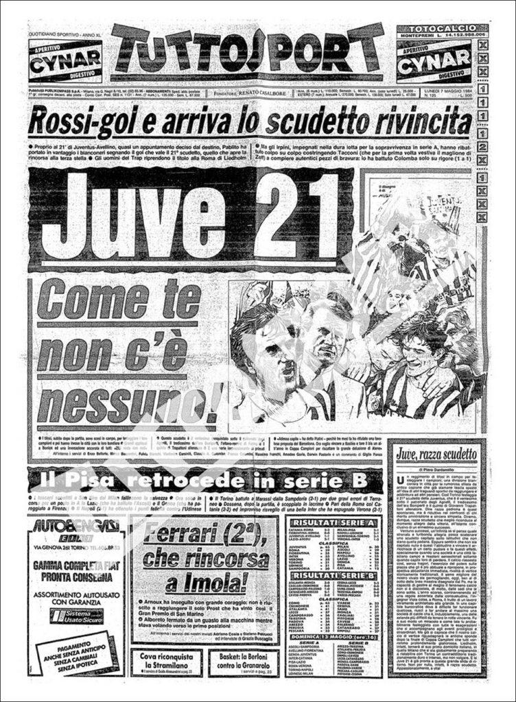 Prima pagina Tuttosport Juventus 1983/1984 Scudetto N.21